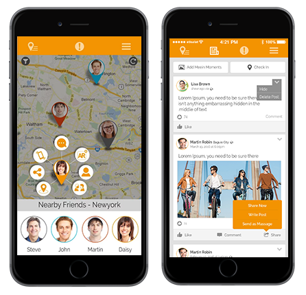 meetIn alliows users to find and meet their contacts and friends while traveling without GPS.